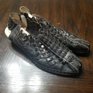 Pikolinos Black Braided Leather Sandals Shoes 7